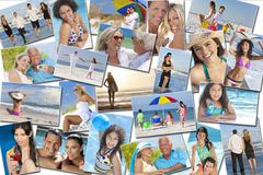 People men women children family beach vacation holiday Stock Photos