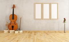 Old room with double bass Stock Illustration