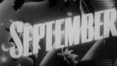 SEPTEMBER Vintage Calendar Old Film Title Graphic Leader 8mm Month 7002 Stock Footage