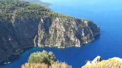 Butterfly valley deep gorge in the mediterranean sea turkey Stock Footage