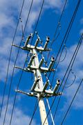 Electrical transmission tower on sky Stock Photos