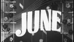 JUNE Vintage Old Film Calendar Title Graphic Leader 8mm Month 7004 - stock footage