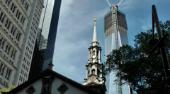 New York 343 Lower Manhattan St. Paul's Chapel & One WTC under construction Stock Footage