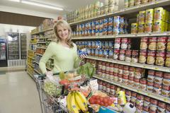 Woman With Grocery Shopping In Supermarket - stock photo