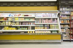 Fridge Counter In Supermarket - stock photo