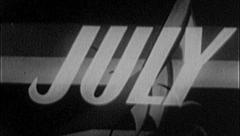 JULY Vintage Old Film Calendar Title Graphic Leader 8mm Month 7005 Stock Footage