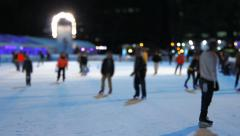 Ice Skating Night Tilt Shift Stock Footage