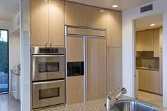 Kitchen With Stainless Steel Appliance - stock photo