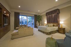 Makuuhuone ylellinen kotiin Kuvituskuvat
