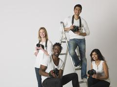 Multiethnic Group Of People With Cameras - stock photo