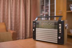 Retro Radio On Table Stock Photos