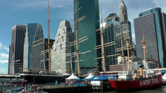 New York 344 Manhattan cityscape seen from South Street Seaport Stock Footage