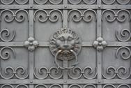 Stock Photo of wrought iron door with lion