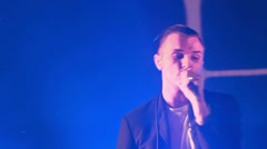 Hurts live performance at the rock festival The Best City.UA Stock Footage