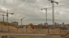 Shopping center constructing. Dolly, time lapse shot in motion Stock Footage