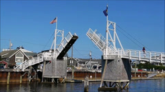 Drawbridge fishing village closes Stock Footage