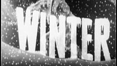 WINTER SEASON Vintage Old Snow Falling Cold Film Title Graphic Leader 7011 Stock Footage