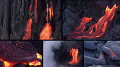 Montage of Molten rock (magma/lava) and volcanic activity (volcano) - stock footage
