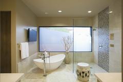Modern Bathroom With Freestanding Bath Stock Photos