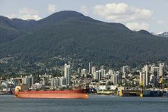 Cargo Ship In Vancouver Harbour British Columbia Stock Photos