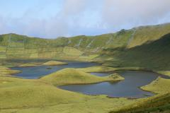 Volcano crater with lake on azores portugal Stock Photos