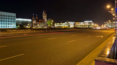 Night traffic on Independence square. Time lapse shot in motion Stock Footage