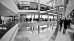 Mall Pedestrian Traffic Time Lapse BW - stock footage