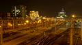 Minsk railway station at night. Dolly, time lapse shot in motion Footage