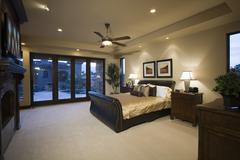 Bedroom With Ceiling Fan Stock Photos