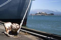 Large ship hull anchor bay alcatraz island california Stock Photos