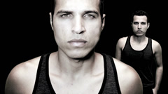 Male model isolated on black background Stock Footage