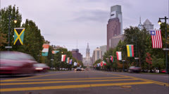 Philadelphia Timelapse on Benjamin Franklin Parkway Stock Footage