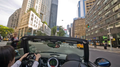 Driving through New York City Convertible Fast Car Woman Manhattan NYC Stock Footage