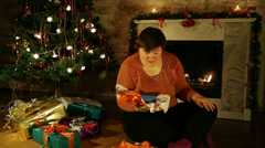 Disabled woman is pleased about gifts Stock Footage