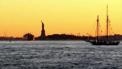 080 Statue of Liberty Sunset From Brooklyn Park A2 59s, New York Stock Footage
