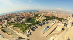 Marseille Cityscape Time Lapse Fisheye Stock Footage