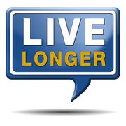 live longer blue text balloon - stock illustration