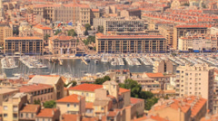 Marseille Cityscape Time Lapse Tilt Shift Stock Footage