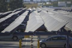 Photovoltaic array in Los Angeles California - stock photo