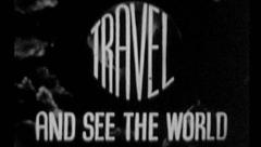 TRAVEL SEE THE WORLD Vintage Old Film Title Graphic Leader Adventure  7020 Stock Footage