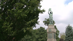 Statue in the town square (2 of 3) Stock Footage
