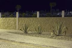 Drought resistant plants in gravel bed Portugal Stock Photos
