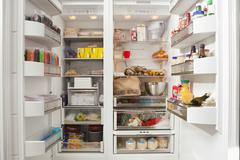 Open Refrigerator With Stocked Food Products Stock Photos