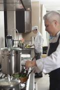 Stock Photo of Chefs Working In Commercial Kitchen