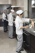 Stock Photo of Chefs Working Together In Commercial Kitchen