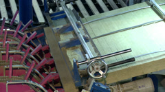 View of production machine spectacular wooden bars - stock footage
