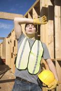 Laborer exhausted on site Stock Photos