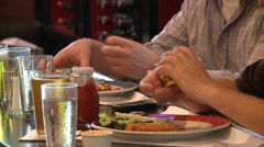 People partaking of a good meal (1 of 9) Stock Footage