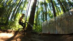 Mountain Biking Wallride Sequence Slow Motion Stock Footage