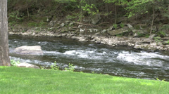 View of stream and portion of field (1 of 2) Stock Footage